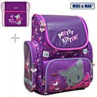 Школьный рюкзак Mike&Mar Майк Мар Котенок (фиол/роз) 1074-ММ-132 + мешок для обуви + пенал