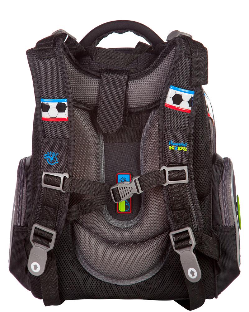 Ранец для первоклассника Hummingbird TK27 Футбол серый с мешком для обуви + пенал, - фото 3
