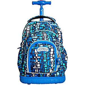 Школьный рюкзак на колесах JWORLD POLYPOP Голубые Шашки