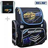 Школьный рюкзак Mike&Mar Майк Мар Гонки (чер/син) 1074-ММ-128 + мешок для обуви