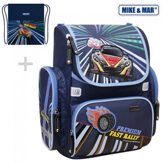 Школьный рюкзак Mike&Mar Майк Мар Ралли (синий) 1074-ММ-127 + мешок для обуви, - фото 1