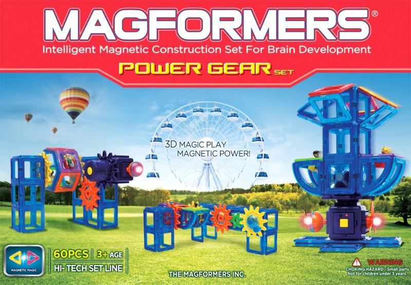 Магнитный конструктор Magformers Power Gear Set 60 деталей артикул 63114 + тетради, - фото 2