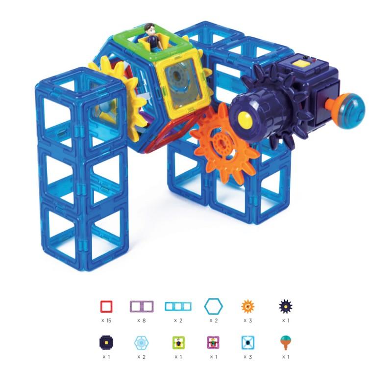 Магнитный конструктор Magformers Power Gear Set 60 деталей артикул 63114 + тетради, - фото 11