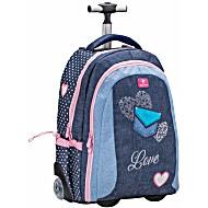 Рюкзак на колесиках с выдвижной с ручкой Belmil Джинсовая Любовь 338-45/691 Jeans Love